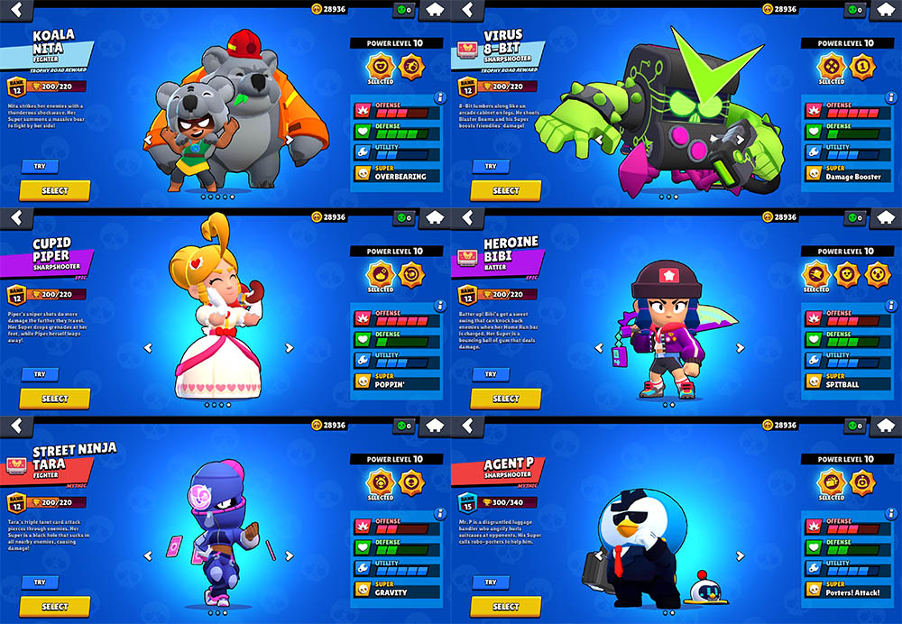 6 new skins in Nulls Brawl 25.107
